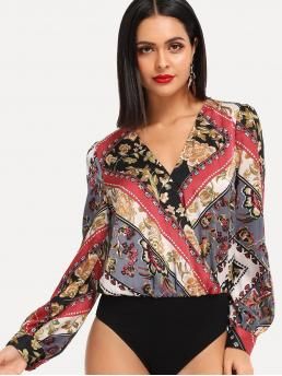 Trending now Long Sleeve Tee Wrap Modal Scarf Print Surplice Bodysuit