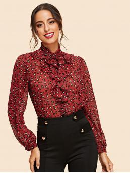 Elegant Leopard Shirt Regular Fit Stand Collar Long Sleeve Bishop Sleeve Placket Red Regular Length Button Up Leopard Print Shirt
