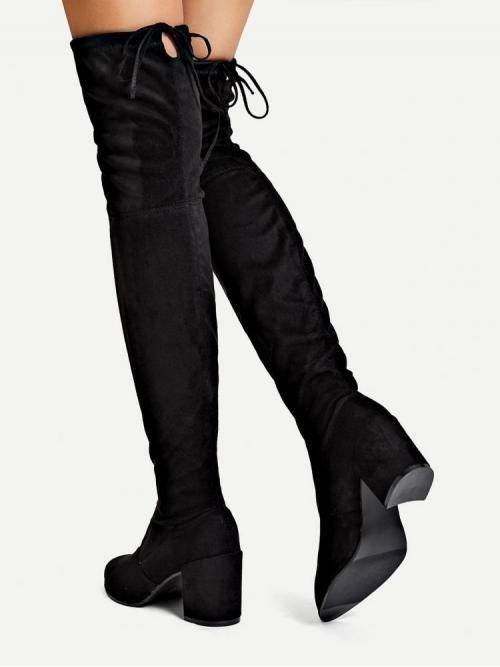 Beautiful Polyester Black Stretch Boots Ruffle Lace up Thigh High Boots