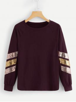Sporty Regular Fit Round Neck Long Sleeve Pullovers Burgundy Regular Length Contrast Striped Sequin Tee