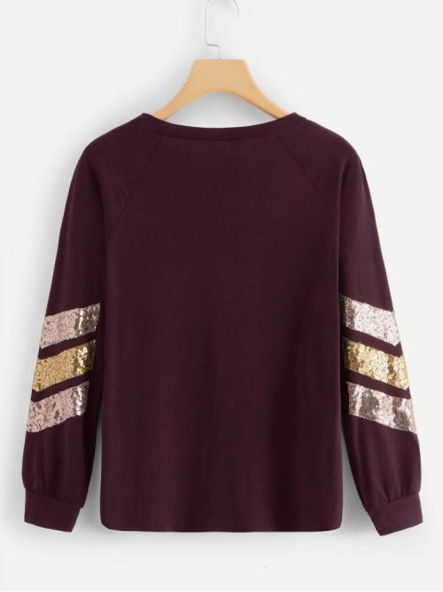 Long Sleeve Top Contrast Sequin Polyester Tee Clearance