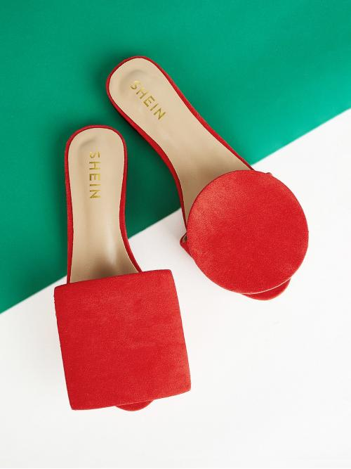 Comfort Slippers Open Toe Plain Red Plain Asymmetrical Flat Slippers