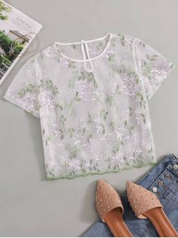 Sexy Regular Fit Round Neck Short Sleeve Regular Sleeve Pullovers White Crop Length Keyhole Back Embroidered Mesh Top