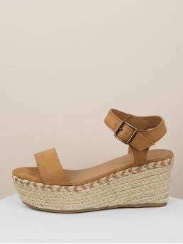 Boho Open Toe Flatform Ankle Strap Brown High Heel Espadrille One Band Buckled Ankle Jute Wrapped Wedges