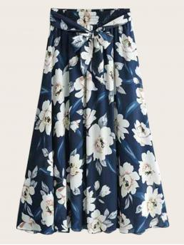 Boho A Line Floral Shift High Waist Navy Midi Length Floral Print Belted Chiffon Skirt with Belt with Lining