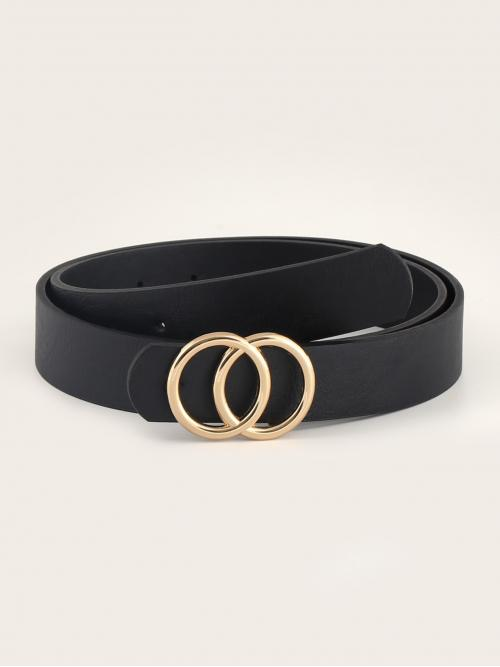 Casual Black Men Double-O Ring Metal Buckle Belt