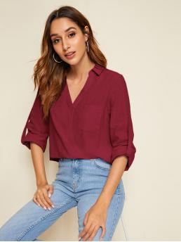 Basics Plain Top Regular Fit Collar and V neck Long Sleeve Roll Up Sleeve Pullovers Burgundy Regular Length Roll Tab Sleeve Pocket Front Top