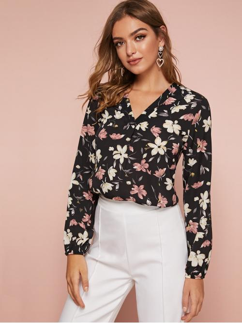 Casual Floral and All Over Print Top Regular Fit V neck Long Sleeve Regular Sleeve Pullovers Multicolor Regular Length V-Neck Floral Print Top