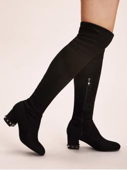 Business Casual Sock Boots Almond Toe Plain Side zipper Black Mid Heel Chunky Side Zip Studded Chunky Boots