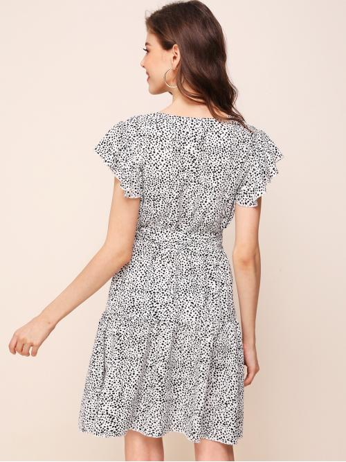Ladies Black and White all over Print Belted Round Neck Dalmatian Print Ruffle Hem Dress