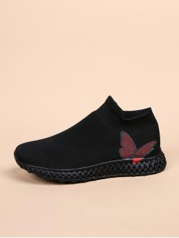 Women's Black Running Shoes Low-top Fabric Slip on Butterfly Print Sock Sneakers
