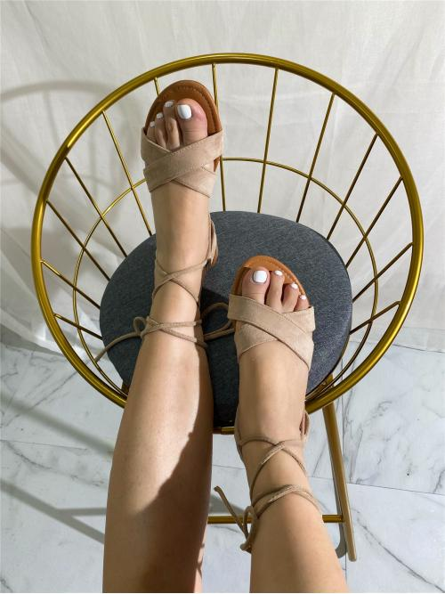 Apricot Gladiator Sandals Flat Open Toe Tie up Sandals Cheap