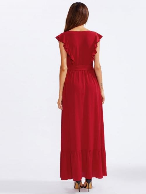 Red Plain Belted Round Neck Frill Shoulder and Hem Self Dress on Sale