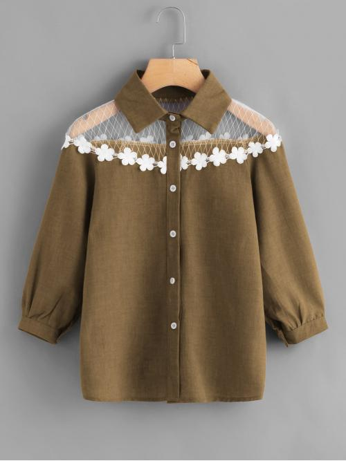 Casual Shirt Regular Fit Collar Three Quarter Length Sleeve Army Green Mesh Insert Crochet Trim Shirt