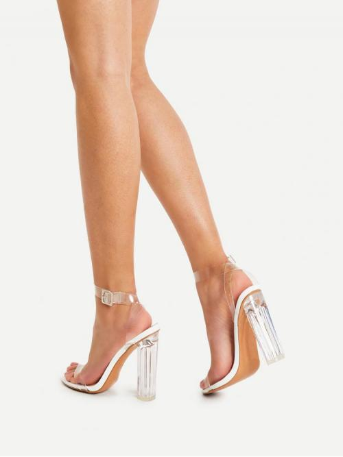 Polyester White Asymmetrical Fringe Clear Design Heels Trending now