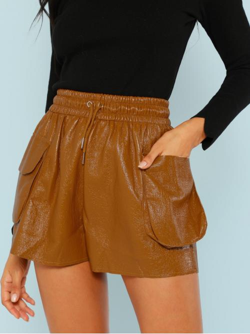 Cheap Camel High Waist Pocket Track Shorts Crinkled Faux Leather Lounge Shorts