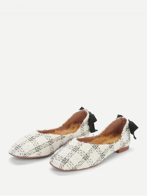 Affordable Corduroy White Mules Bow Back Fuzzy Flats