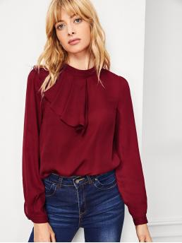 Long Sleeve Top Button Polyester Keyhole Back Ruffle Detail Mock Neck Top Cheap