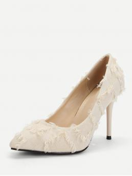 Business Casual Point Toe Beige High Heel Stiletto Frayed Decorated Stiletto Heels