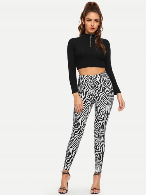 Black and White Natural Waist Contrast Mesh Regular High Waist Animal Print Leggings Pretty