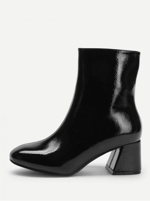 Corduroy Black Stretch Boots Tassel Side Block Heeled Boots Trending now