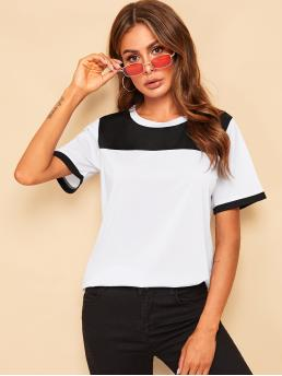 Casual Colorblock Regular Fit Round Neck Short Sleeve Pullovers Black and White Regular Length Color Block Ringer Tee