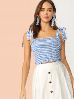 Cute Cami Gingham Slim Fit Straps Blue Crop Length Tie Strap Frilled Gingham Shirred Top