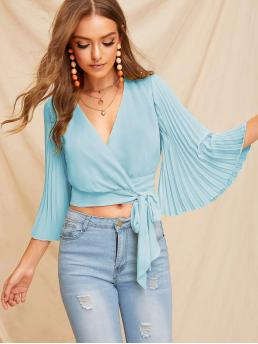Boho Plain Top Regular Fit V neck Three Quarter Length Sleeve Placket Blue and Pastel Crop Length Pleated Flounce Sleeve Surplice Neck Knotted Blouse