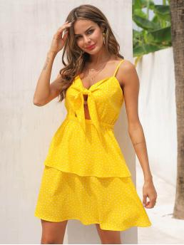 Boho Cami Polka Dot Regular Fit Spaghetti Strap Sleeveless High Waist Yellow Short Length Polka Dot Tie Front Peekaboo Cami Dress
