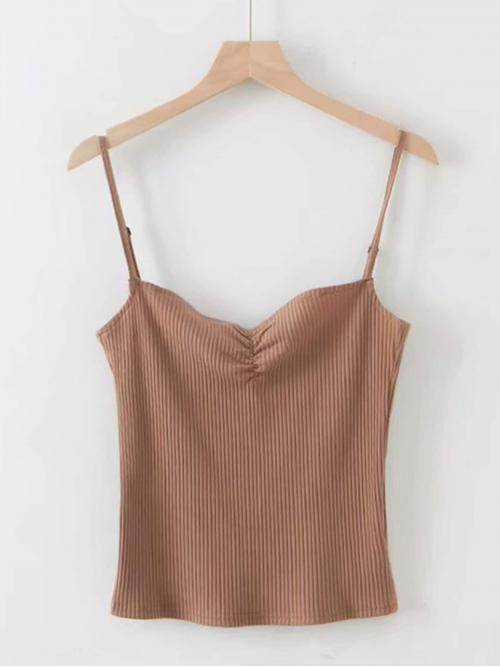 Casual Cami Plain Slim Fit Spaghetti Strap Brown Crop Length Ruched Front Rib-knit Cami Top