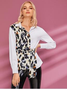 Casual Leopard Shirt Regular Fit Collar Long Sleeve Regular Sleeve Placket Multicolor Regular Length Button Front Leopard Contrast Belted Blouse with Belt