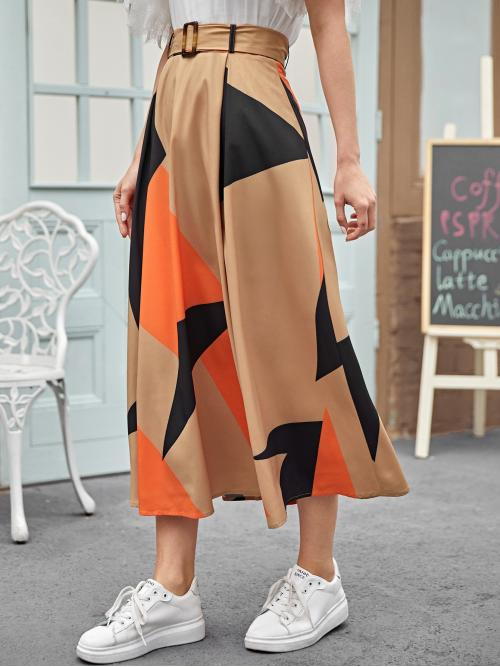 Elegant A Line Geometric Mid Waist Multicolor Long/Full Length Buckle Belted Colorblock Skirt with Belt