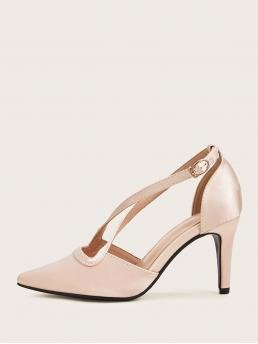 Business Casual Plain Nude High Heel Stiletto Point Toe Cross Strap Stiletto Heels
