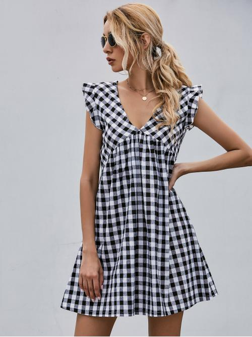 Casual Smock Gingham Flared Regular Fit V neck Cap Sleeve High Waist Black and White Short Length Gingham Ruffle Trim Zip Back Dress