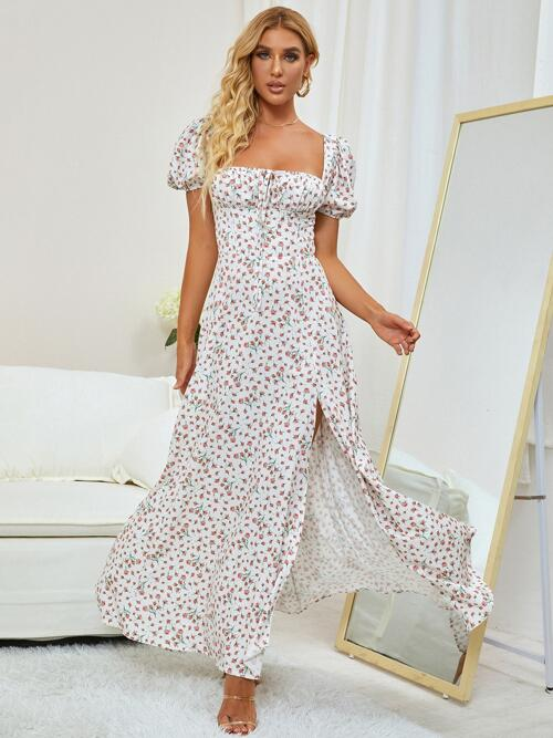 Womens Multicolor Floral Ruched Bust Square Neck High Split Dress