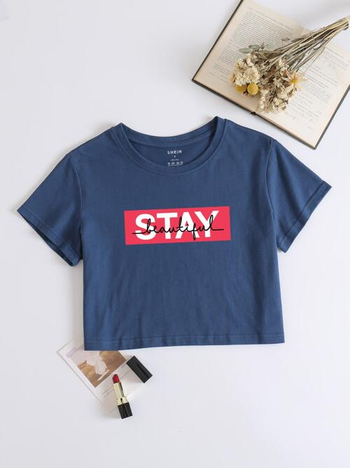 Short Sleeve Cotton Navy Blue Round Neck Letter Graphic T-shirt Shopping