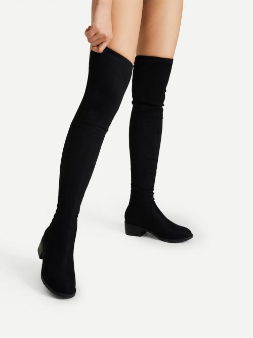 Satin Black Stretch Boots Pom Pom Lace up Detail Block Thigh High Heeled Boots Pretty