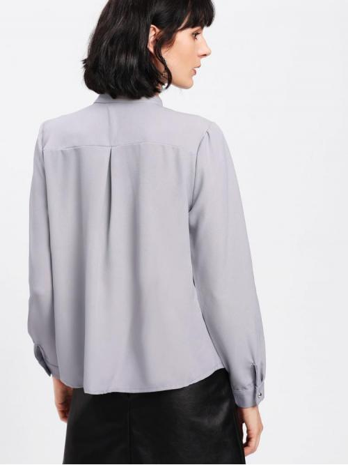 Sale Long Sleeve Top Button Satin Metal Bar Pleated Detail Shirt