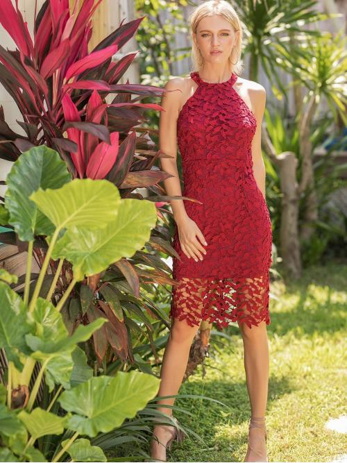 Elegant and Glamorous Fitted Pencil Slim Fit Halter Sleeveless Natural Red Midi Length Lace Hollow Out Halter Dress