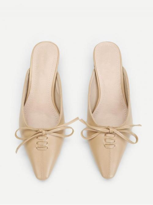 Women's Corduroy Apricot Court Pumps Bow Tie Pointed Toe Heel Flats
