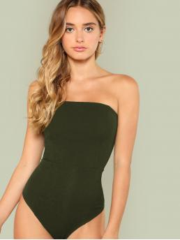 Casual Tube Plain Skinny Strapless Sleeveless Mid Waist Army Green Slim Fitted Strapless Bodysuit