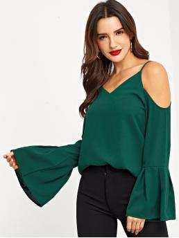 Casual Plain Top Regular Fit Spaghetti Strap Long Sleeve Pullovers Green Regular Length Flounce Sleeve Cami Blouse