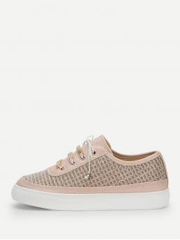 Other Round Toe Lace Up Pink Metal Detail Lace-up Glitter Sneakers