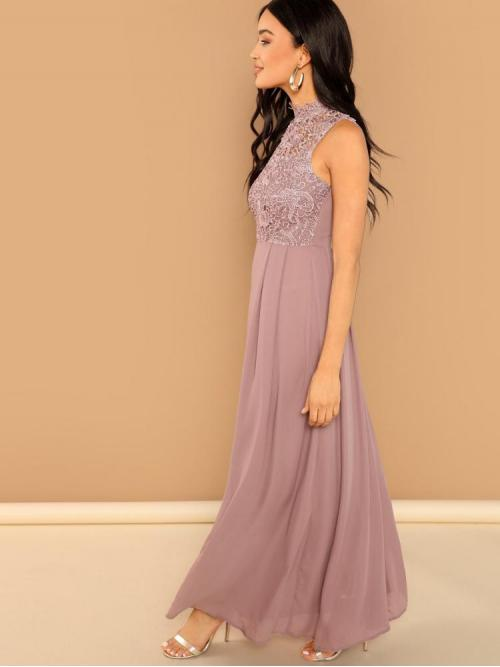 Dusty Pink Plain Sheer Stand Collar Guipure Lace Top Prom Dress Trending now