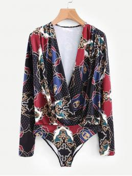 Ladies Long Sleeve Tee Button Polyester Scarf Print Bodysuit