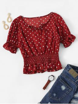 Cute Polka Dot Peplum Regular Fit Round Neck Short Sleeve Flounce Sleeve Pullovers Burgundy Crop Length Polka Dot Bow Tie Shirred Ruffle Top