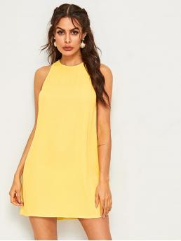 Casual Tunic Plain Straight Loose Round Neck Sleeveless Natural Yellow Short Length Keyhole Back Tunic Tank Dress