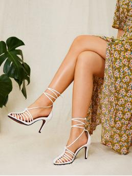 Business Casual Almond Toe Plain Lace Up White High Heel Stiletto Tie Leg Stiletto Heels