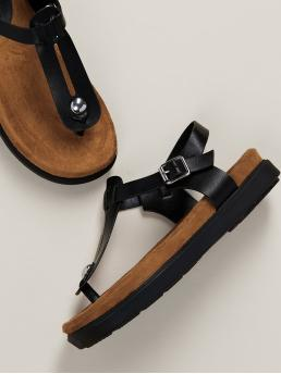 Comfort Toe Post Flatform Ankle Strap Black T-Strap Buckled Ankle Footbed Sandals