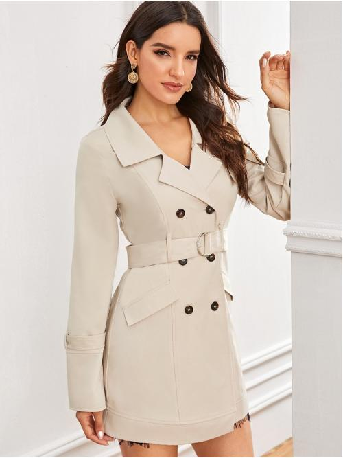 Elegant Trench Coat Plain Regular Fit Notched Long Sleeve Regular Sleeve Double Breasted Beige Long Length Solid Double Button Belted Trench Coat with Belt